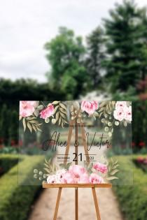 wedding photo - FREE PREVIEW Flower Printed Acrylic Wedding Sign