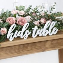 wedding photo - White Wooden Kids Table Sign, Wedding Sign, Wedding Decorations, Kids Wedding Table, Wedding Table Signs, Rustic Table Decor, Wedding Signs