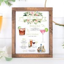 wedding photo - Signature Drinks Sign, Pink Floral Signature Cocktails Template, Editable Bar Menu Sign, Signature Drinks Sign, 150+ Drink Images, Greenery