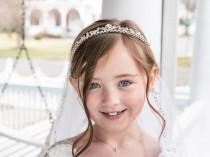 wedding photo - Flower Girl Tiara, Crystal Tiara, wedding headpiece, rhinestone tiara, rhinestone, first communion tiara, Bryce Flower Girl Tiara