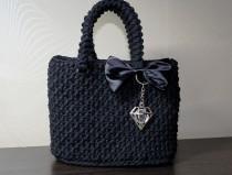 wedding photo - Handmade Bag for Women Knitted bag Handmade bag Woman gift Crochet bag Exclusive bag Black bag Mother's Day Christmas Birthday Party bag