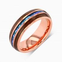 wedding photo - Tungsten Ring, Tungsten Wedding Band Men, Mens Wedding Band, Rose Gold Wedding Band, Opal Ring, Wood Ring, Blue Opal Ring, Rose Gold Ring