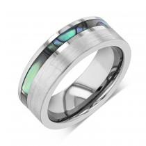 wedding photo - Tungsten Ring, Tungsten Wedding Band Men, Mens Wedding Band, Sea Shell Abalone, Spiral Asymmetrical Ocean Wave, Iridescent Mother of Pearl