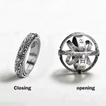 wedding photo - 925 Sterling Silver Opening Mechanism Ball Ring Gift/ Renaissance Vintage Astronomical Rotating Complex Friendship Celestial Da Vinci Unique