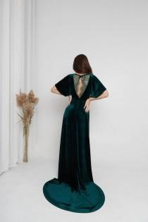 wedding photo - Dark Green Velvet Dress Maxi Train Dress Boho Bridesmaid Dress Long 80 Prom Dress Dress with Train Flutter Sleeves Dress Wedding Guest Dress