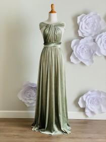 wedding photo - Sage  green Velvet dress ,Velvet Bridesmaid Dress , velvet long infinity Dress velvet wrap dress Free Shipping