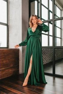 wedding photo - Emerald silk satin A-line maxi wrap dress/emerald bridesmaid dress/mother of the bride dress/prom dress/formal dress/wedding guest dress