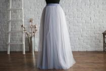 wedding photo - Grey Long Tulle Skirt, tulle skirt women, maxi tulle skirt, tulle skirt plus size, long tulle skirt, tulle skirt wedding, grey bridesmaids