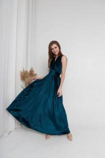 wedding photo - Dark Teal Velvet dress Infinity Velvet bridesmaids Dress Convertible dress Short Flutter Sleeves Dress Maxi Train Boho Bridesmaid Dress