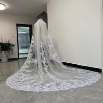 wedding photo - Elegant Bridal Wedding Veil,Cathedral  Single lace veil ,White or Ivory Tulle Lace Applique Bridal Veil With Comb