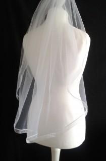 wedding photo - Ivory, Ribbon, Edge, 1 Tier, Veil, Any Colour, Waist, Length, Elbow, Fingertip, Shoulder, Wedding, Bridal, Cream, White, LB Veils LBV183 UK