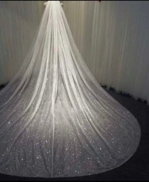 wedding photo - Glitter wedding veil glitter bridal veil sparkle veil tulle with glitter 1 tier veil cathedral long veil shimmer wedding veil fingertip veil
