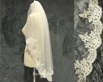 wedding photo - Wedding veil,Fingertip Veil,Lace Veil,Bridal Veil,1Tier veil,Chapel veil,Cathedral veil,Flower veil,White,Tulle veil,Bridal hair accessories