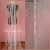 wedding photo - Glitter veil with rhinestone edging Sparkling cathedral veil