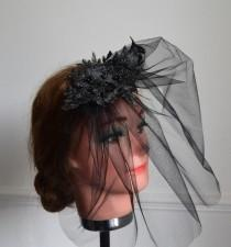 wedding photo - Black blusher veil with lace headpiece wedding funeral occasion wear formal