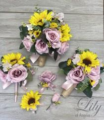 wedding photo - Wedding Bouquet, Bridal Bouquet, Bridesmaid Bouquet, 17 PIECE PACKAGE, Silk Flower, Wedding Flower, Sunflowers, Dusty Pink, Lily of Angeles