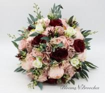 wedding photo - Dusty Rose, Wine and Blush Bridal Bouquet, Artificial Wedding Flowers, Bridesmaid Bouquets, Corsage, Garden Bouquet, wedding flowers