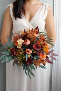 wedding photo - Burnt orange burgundy bouquet, Bridal silk flower bouquet, Fall wedding bouquet