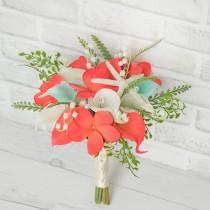 wedding photo - Beach Wedding Bouquet, Starfish Bouquet, Beach Bouquet, Plumeria Bouquet, Coral Bouquet, Starfish Bouquet, Coral Bouquet, Wedding Bouquet