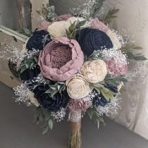 wedding photo - Navy, Rose Quartz, and Ivory Sola Wood Flower Bouquet with Baby's Breath and Greenery - Bridal Bridesmaid Toss