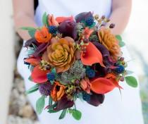 wedding photo - Wedding Bouquet, Succulent Bouquet, Silk Wedding Bouquets, Real Touch Bouquet, Boho Bouquet, Peony Bouquet, Rustic Bouquet, Orange Bouquet