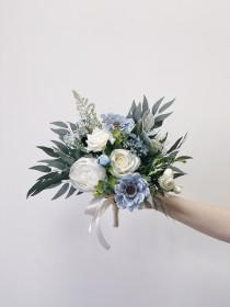 wedding photo - Wedding bouquet, Dusty Blue Bouquet, Bridal Bouquet, Blue Wedding Bouquet, Eucalyptus Bouquet
