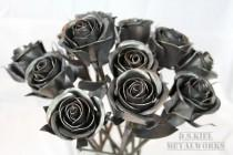 wedding photo - Steampunk Wedding Bouquet, Dozen Sweetheart Rose Bouquet, Metal Rose Bouquet, Bridesmaid Bouquet, Wedding Gift