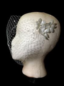 wedding photo - Pearl Silk Flower Handmade Birdcage Wedding veil