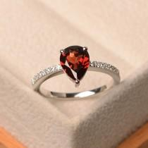 wedding photo - Garnet ring, pear cut red gemstone ring, sterling silver, January birthstone ring, engagement ring for women