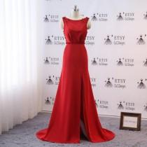 wedding photo - Prom Ball Gown Bridesmaid Dress Long Sheath Mermaid Red Evening Dress Sexy High Slit Women Formal Party Gown Wedding Party Guest Dress