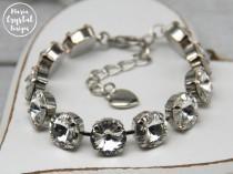 wedding photo - Clear Swarovski Tennis Bracelet, Crystal Bracelet, Sparkle Bridesmaid Bracelets, Wedding Bracelet, Swarovski Armband, Elegant Bracelet