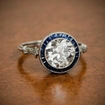 wedding photo - Stunning Old Mine Cut Diamond Ring / Estate Engagement Ring / Vintage Diamond Wedding Ring / Blue Baguette Ring / Anniversary Ring For Wife