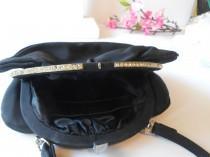 wedding photo - 1950's Black Evening Bag with Rhinestone Trim, Black Faille Handbag, Date Night Purse EB-0223