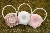 wedding photo - Flower Girl Basket, Ivory Flower Girl Basket, Blush Flower Girl Basket, Champagne Flower Girl Basket, Flower Girl Gift, Flower Girl