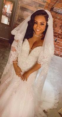 wedding photo - Bridal veil, chapel veil, cathedral veil, floor length veil, waltz veil, simple veil, elegant veil, classic veil, plain veil TS 716