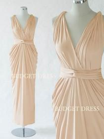 wedding photo - Sand Champagne Convertible Bridesmaid Dress, Long Infinity Greek Goddess Dress, Maxi Multiway Prom Dress, Mix And Match Bridal Party Dresses