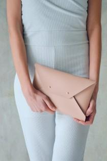 wedding photo - Nude leather clutch bag / Nude envelope clutch / Leather bag available with wrist strap / Wedding clutch / Bridesmaid gift / MEDIUM SIZE