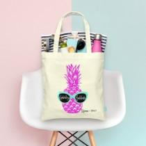 wedding photo - Where My Beaches At Retro Pineapple with Sunglasses -Beach Bachelorette Party Tote - Wedding Welcome Tote Bag