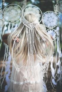 wedding photo - Macrame veil, Macrame wedding veil, Boho veil, Macrame Hairpiece, Bohemian veil, Bridal shower accessory, Macrame Headband, Unique Veil