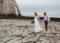 wedding photo - Bestseller Ivory Off the shoulder wrap wedding dress  with pockets , vintage inspired 1244