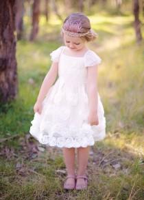 wedding photo - SALE SALE SALE!! Flower Girl Dress - Sky Full of Flowers, pattern, roses, blush, ivory, pink, vintage, boho, princess