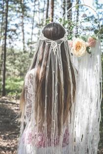 wedding photo - Macrame veil, Macrame wedding veil, Boho veil, Macrame Hairpiece, Bohemian veil, Bridal shower accessory, Macrame Headband, Hair accessories