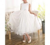 wedding photo - Ivory Lace Bridesmaid Flower Girl Dress 2 3 4 5 6 7 8 9 Years