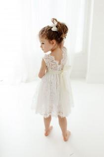 wedding photo - Bohemian White Flower Girl Dress, Rustic Tulle Wedding Dress, Will You Be My Flower Girl Proposal, Boho Dresses