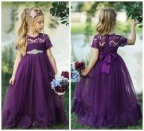 wedding photo - Lace Flower girl dress, Eggplant Rustic flower girl dress, Purple dress, Flower girl dresses, Bohemian flower girl dress, Purple lace dress