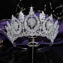 wedding photo - Tall Crystal Brides Tiara/ Silver Wedding Accessories/ Bridal Hair Jewellery/ Silver Wedding Crown/ Brides Diadem/ Bridal headwear In Silver