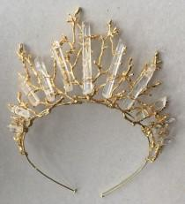 wedding photo - The ESME MAXI Crown - Quartz Raw Crystal and Branch Twig Antler Woodland Ethereal Natural Crown.