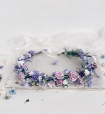 wedding photo - Flower crown, Lavender flower Crown, Flower girl crown, Purple flower Crown, Wedding Flower Crown, Wedding flower hair accessories