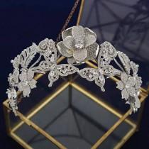 wedding photo - Butterfly Tiara with Flowers/ Bridal Hair Accessories/Brides Jewelry/ Bridal Crown/Silver Tiaras/ Flower Tiara/ Princess crown/ Floral Tiara