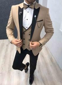 wedding photo - Gold Slim Fit Shawl Lapel 3 Piece Tuxedo